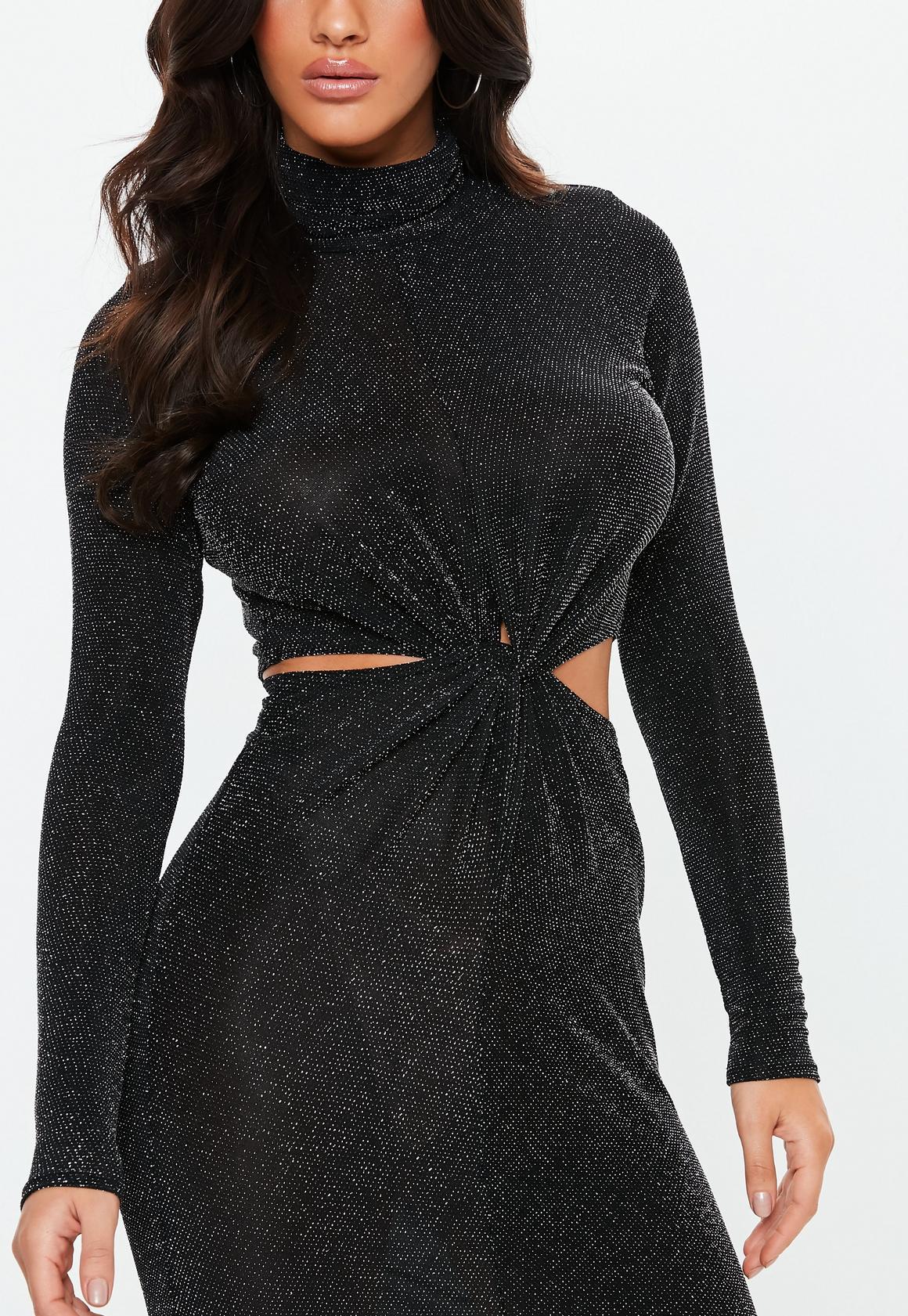 Missguided - robe courte e brillante à découpes et col haut - 3
