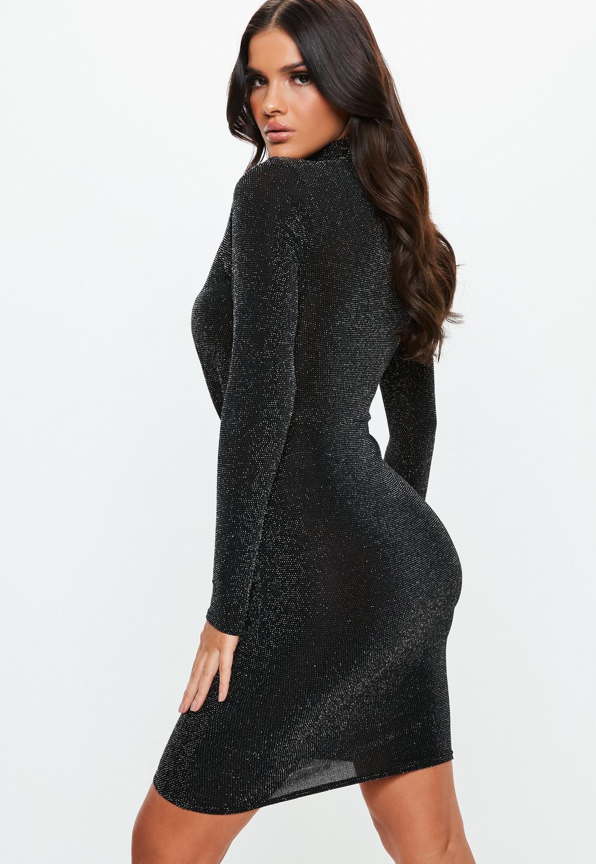 Missguided - robe courte e brillante à découpes et col haut - 4