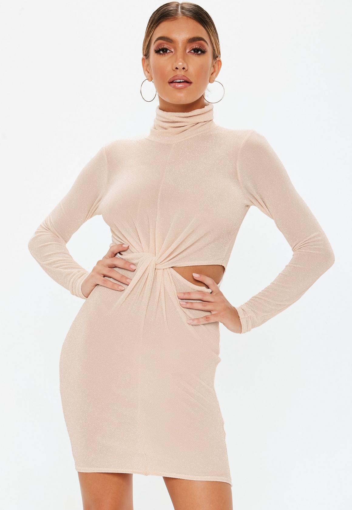 Missguided - robe courte  brillante à découpes et col haut - 1