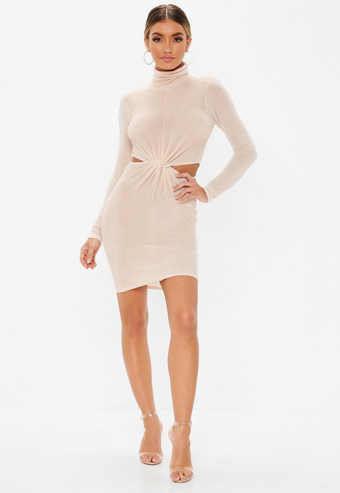 Missguided - robe courte  brillante à découpes et col haut - 2