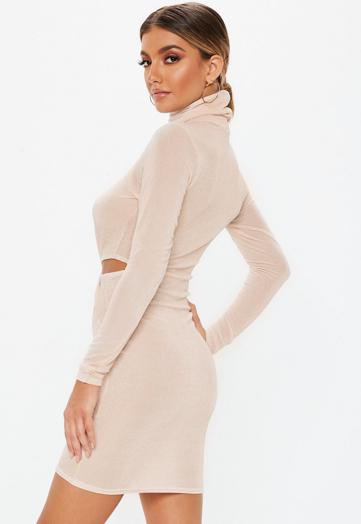 Missguided - robe courte  brillante à découpes et col haut - 4