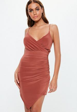 3c0e75852de £19.80. rust strappy slinky ruched bodycon mini .