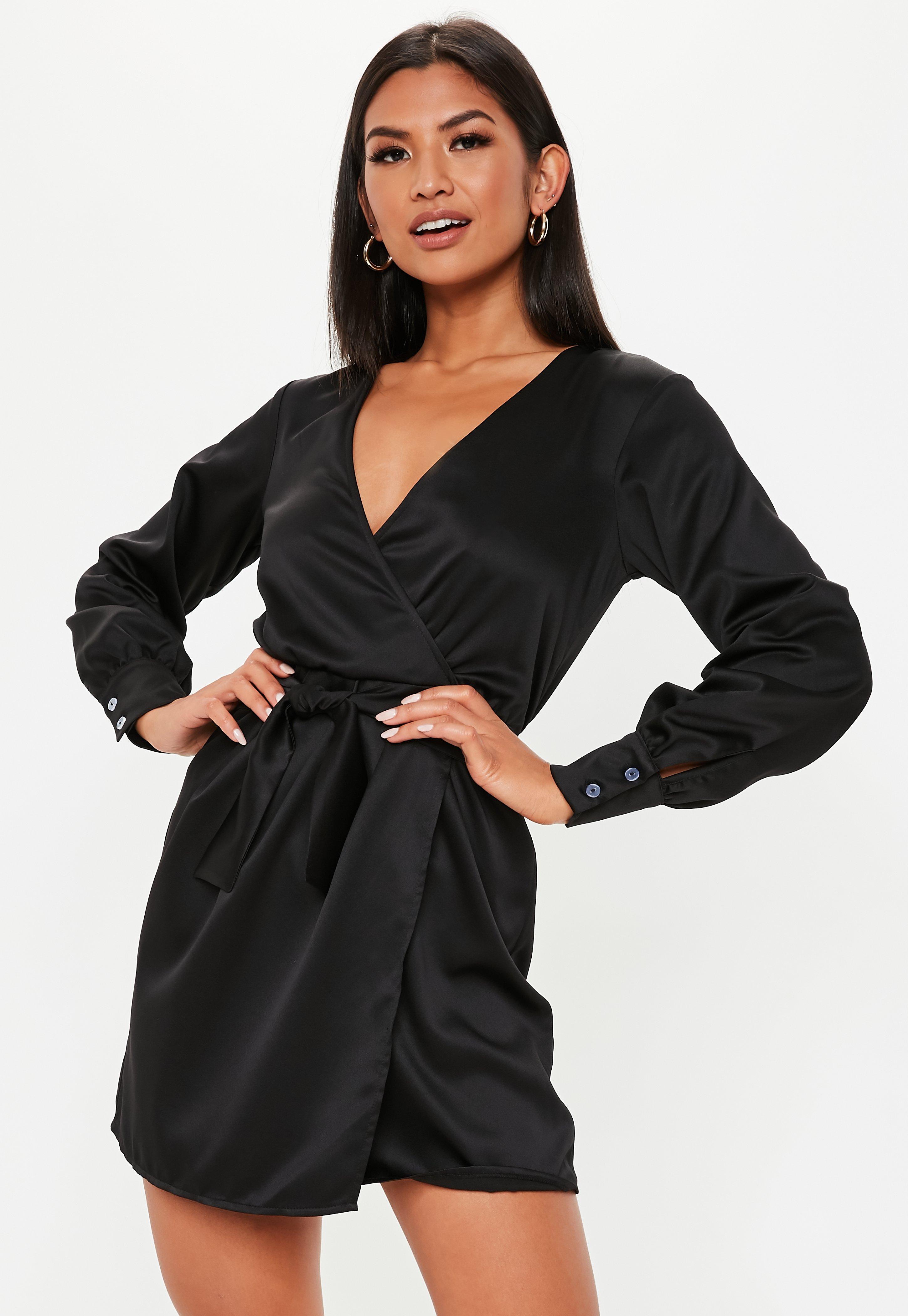 81ce0db5a5981 Black Wrap Dresses | Shop Black Wrap Dresses Online - Missguided