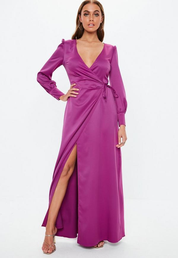 0ce9b4c803b8 Purple Satin Tie Side Maxi Dress