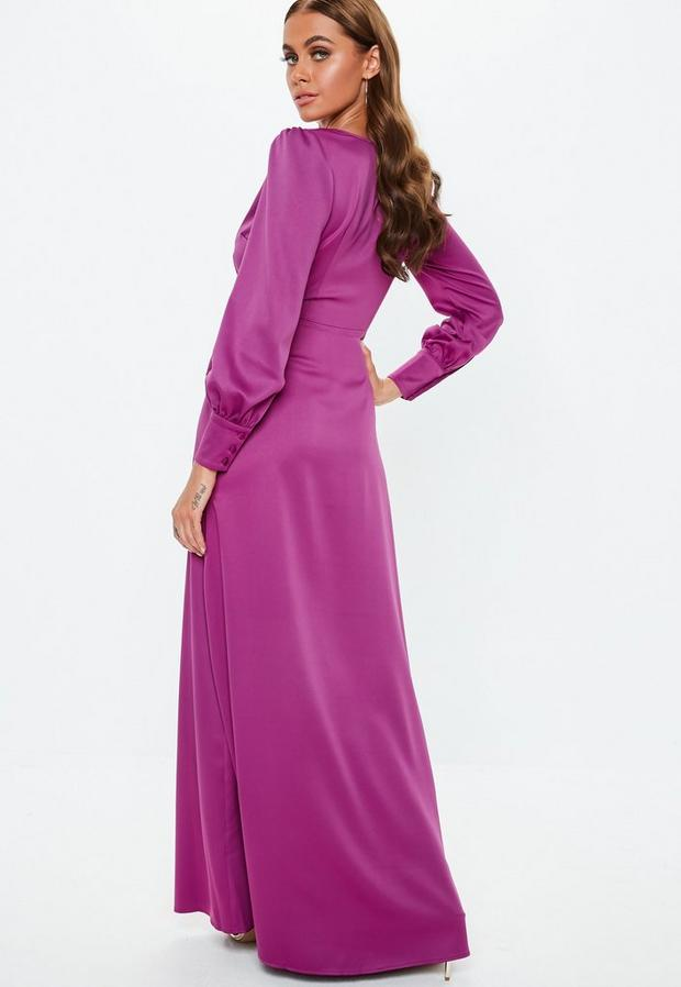 Missguided - Satin Tie Side Maxi Dress - 2