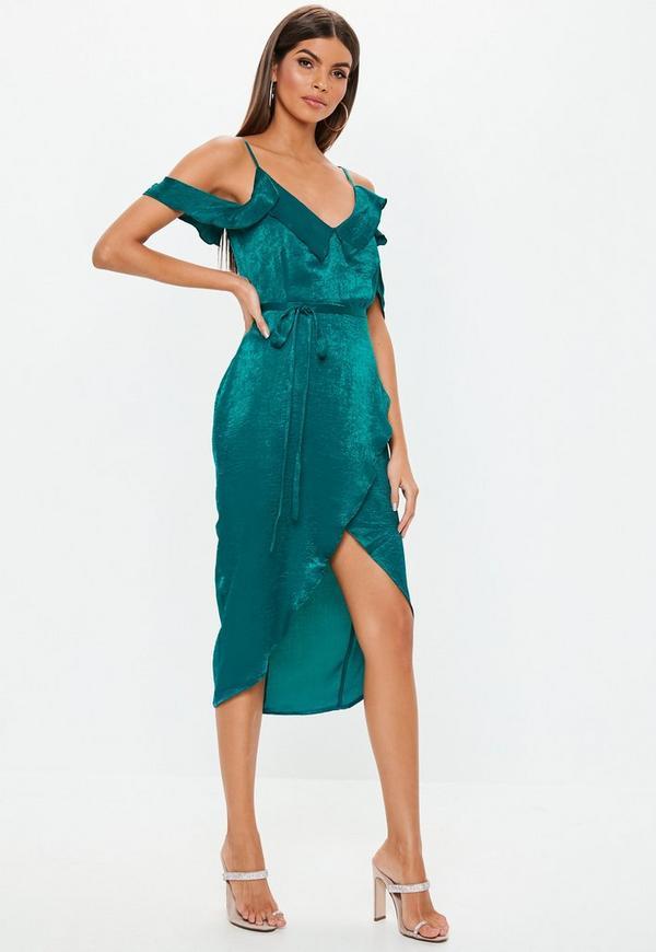 ... Teal Cold Shoulder Satin Frill Midi Dress. Previous Next a5ce1d9db