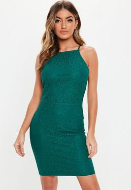ecc1cdc0432 Teal Lace Square Neck Bodycon Mini Dress