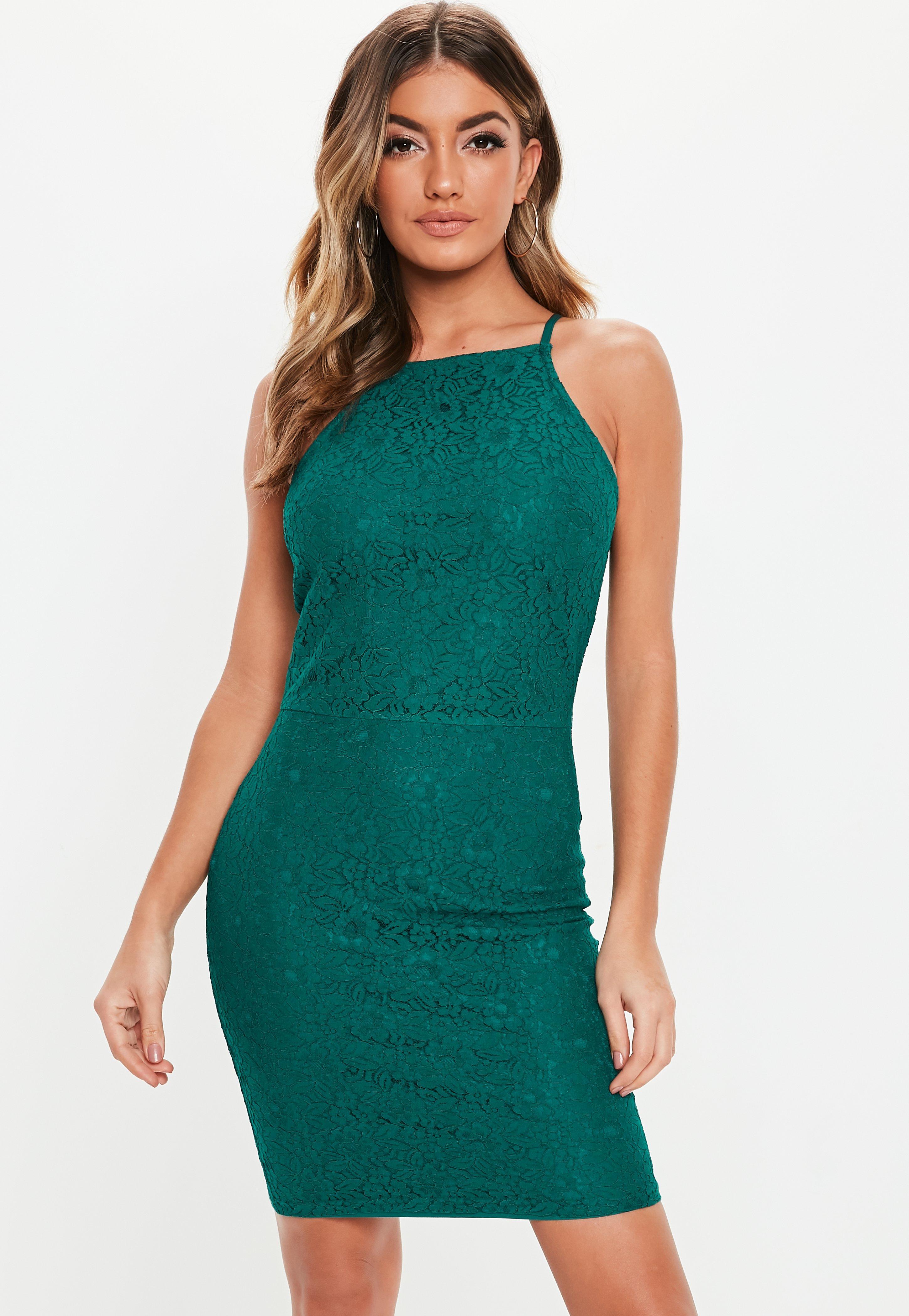 3165ecf06c Turkusowa koronkowa sukienka mini