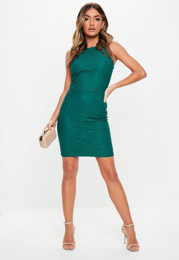 Teal lace high neck strappy bodycon dress