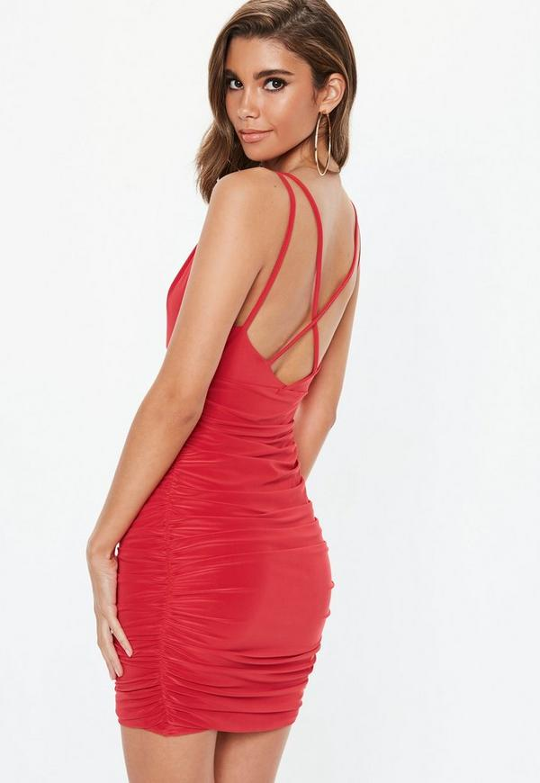 ff8dd677b2d ... Red Slinky Cross Back Ruched Side Mini Dress. Previous Next
