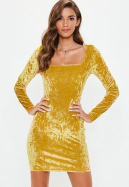 Gold Crushed Velvet Bodycon Dress