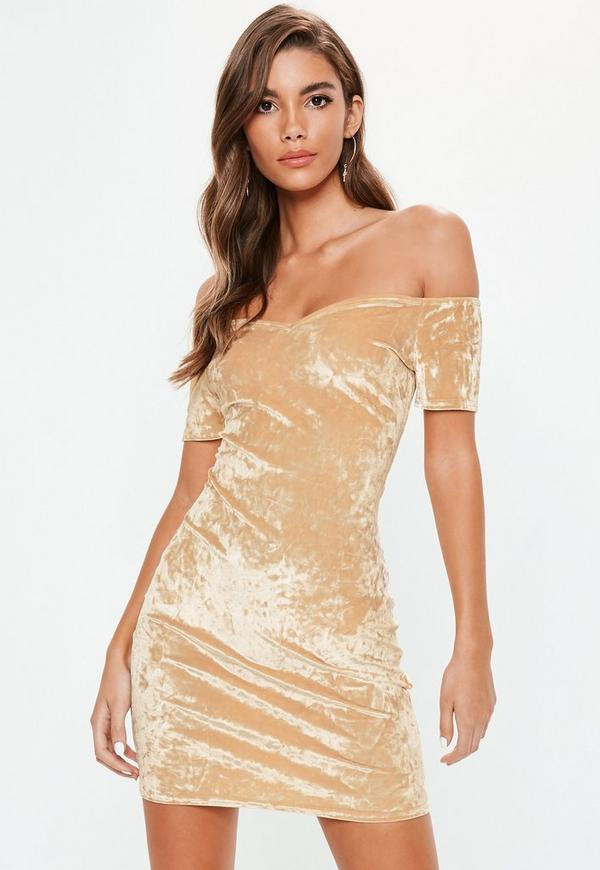 Crushed velvet bodycon dress back with sleeves