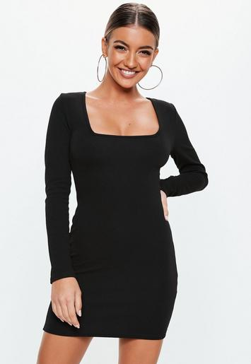 Black Crepe Square Neck Long Sleeve Bodycon Dress Missguided