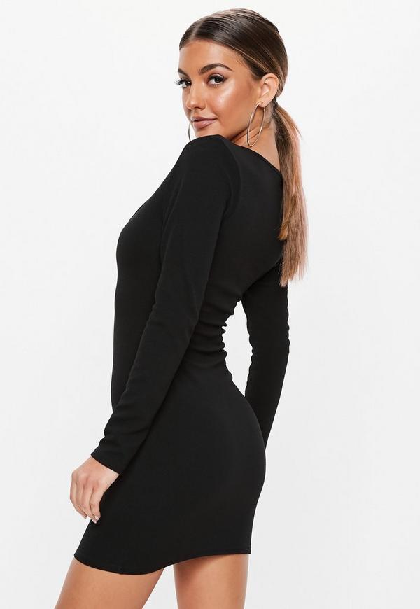 Australia neckline in dress bodycon black basic missguided neck square strapless essentials