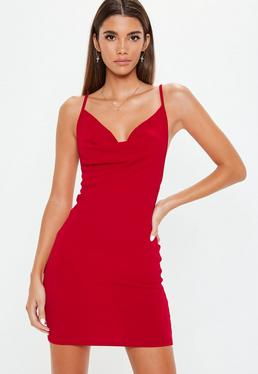 red cowl neck bodycon dress