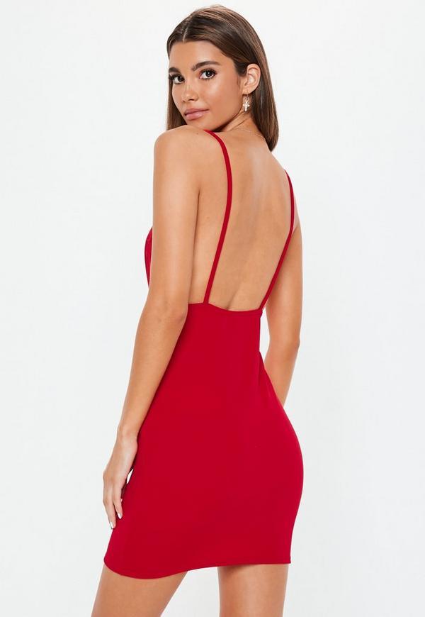 Red turtleneck bodycon dress