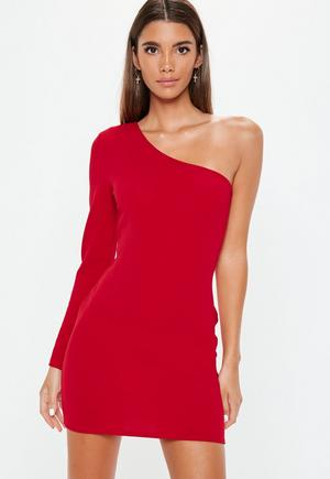 c78ab565cf5 £4.80. red one shoulder bodycon dress