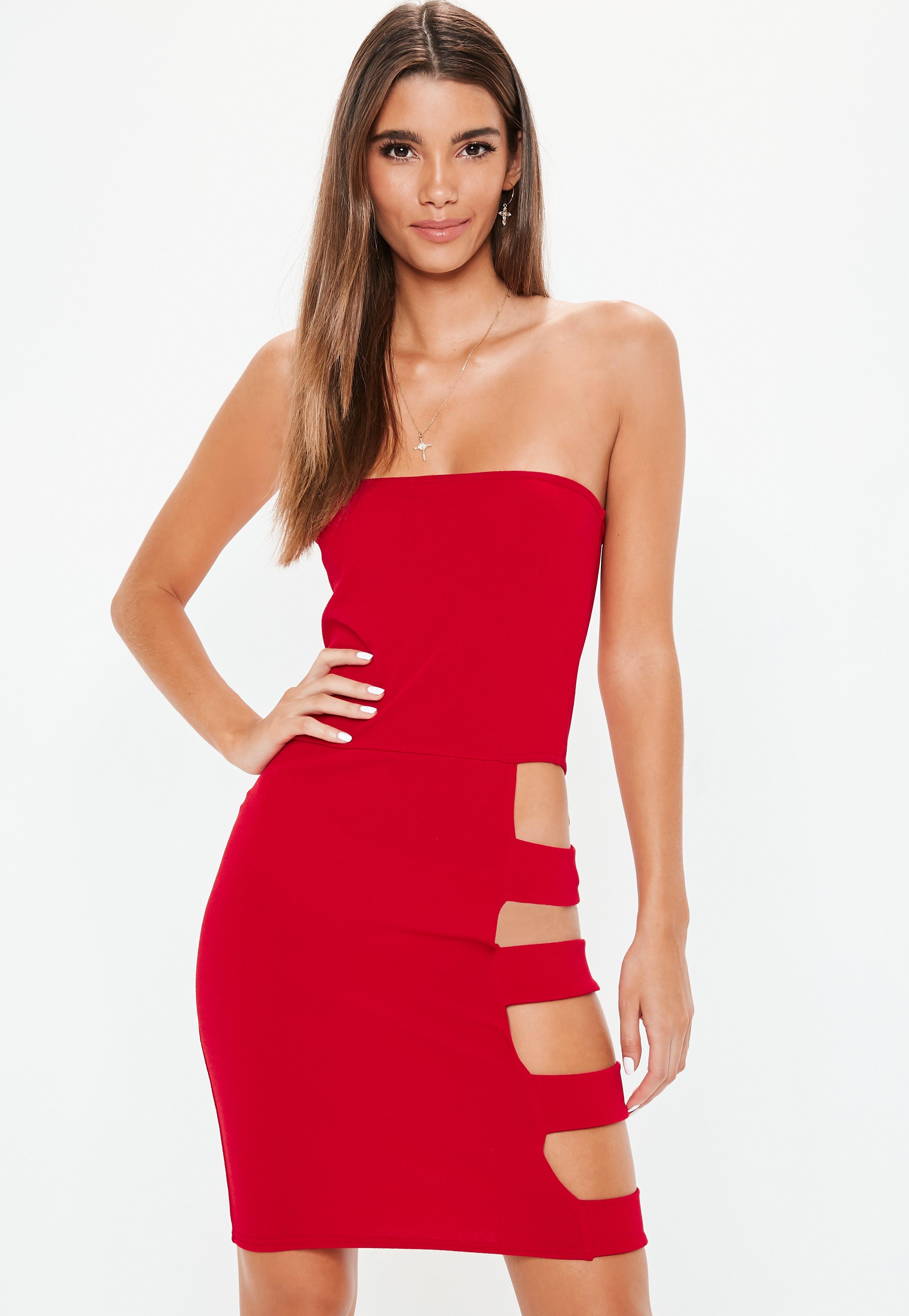 ccf15747c Czerwona bandażowa sukienka z wycięciami   Missguided