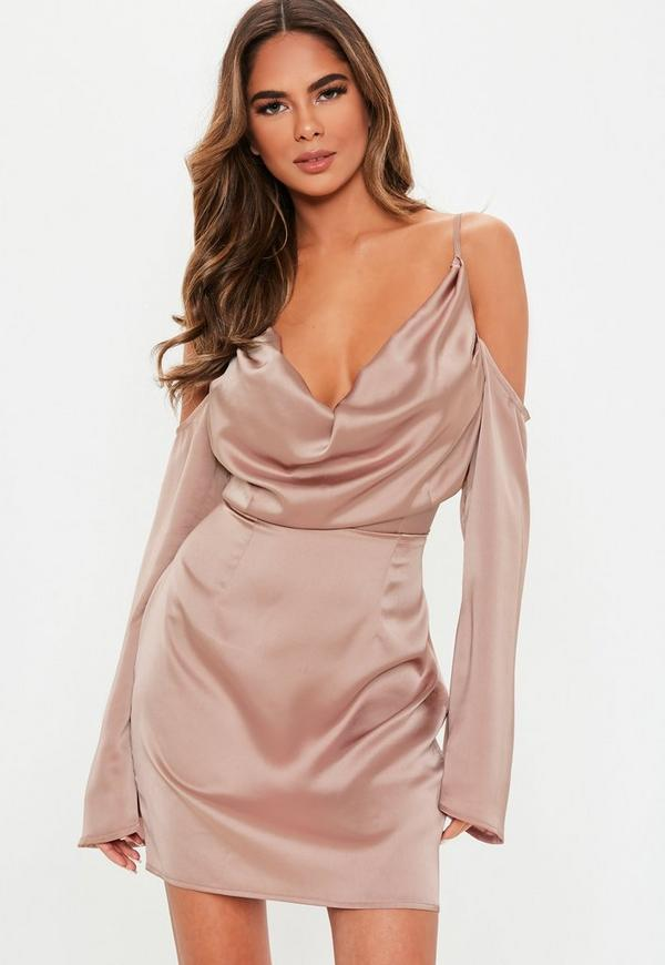 c93e190e06 Mauve Satin Cold Shoulder Cowl Mini Dress