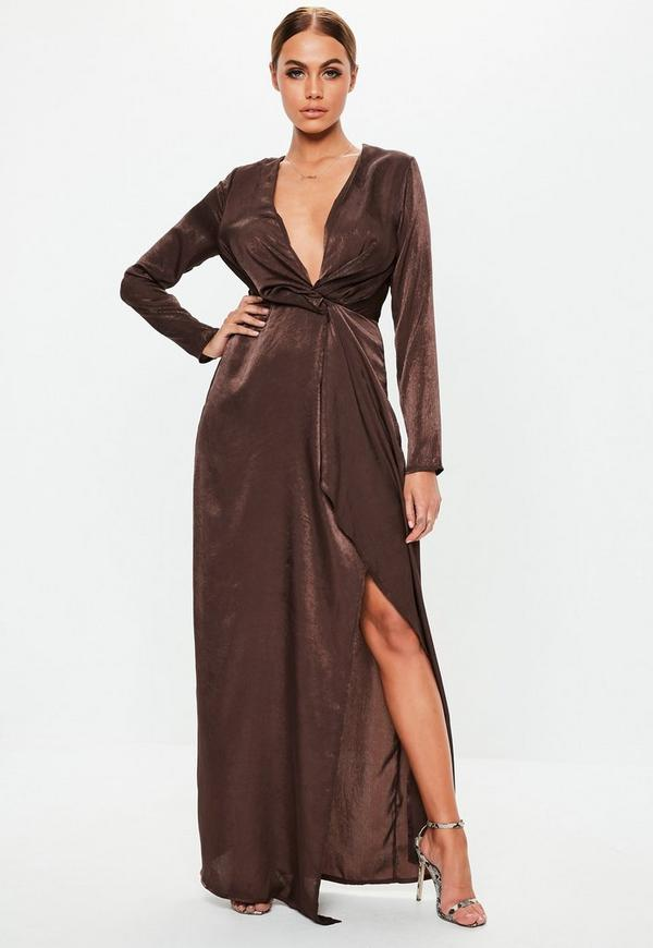 eda015ba92a8 ... Chocolate Satin Twist Front Maxi Dress. Previous Next