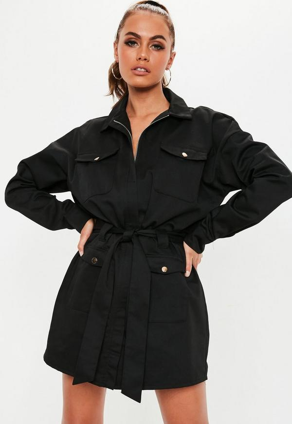 Black Utility Zip Shift Dress by Missguided