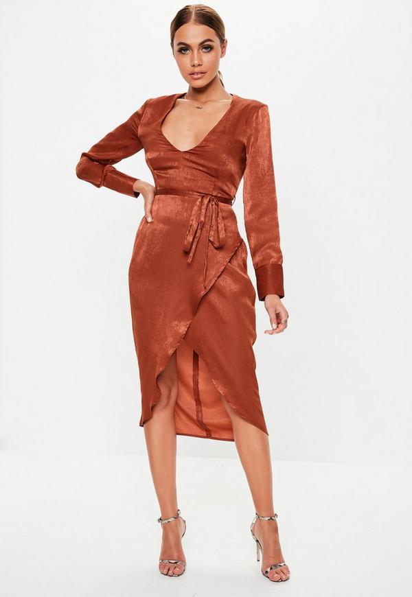 4a5a307171ee Rust Long Sleeve Wrap Satin Midi Dress