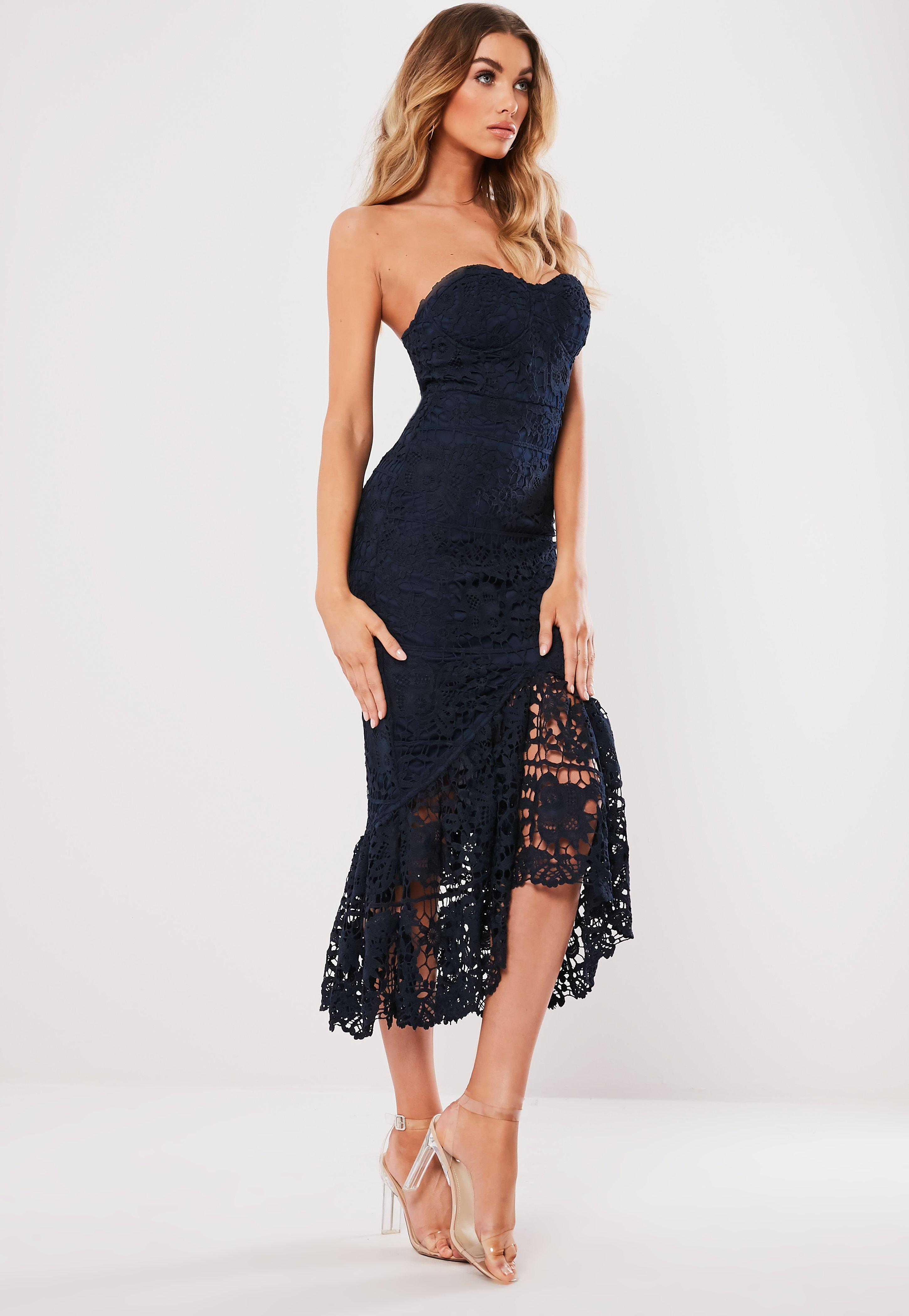 f486dd9e57 Navy Lace Fishtail Maxi Dress