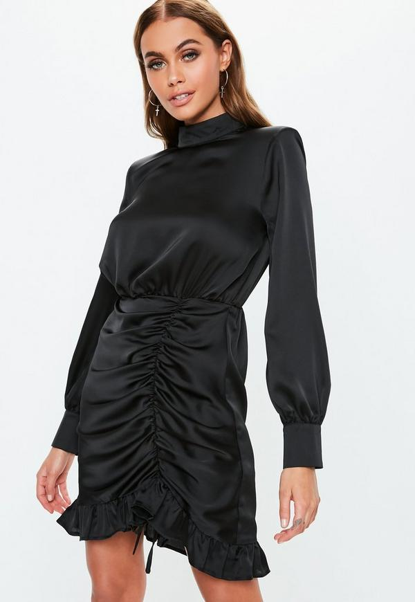 Black High Neck Satin Ruched Mini Dress Missguided
