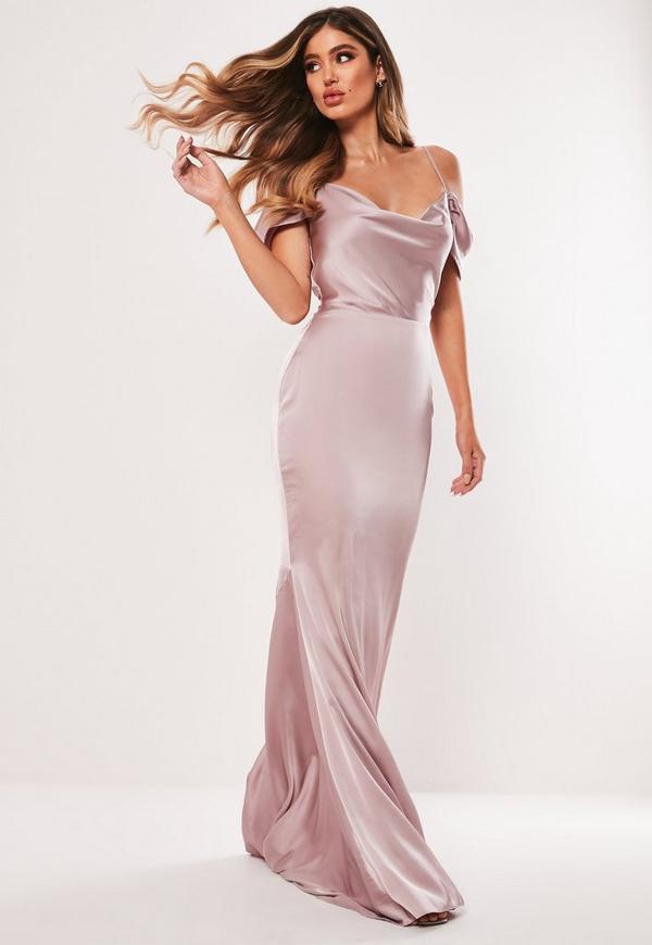 d8187e4513c4cf Bridesmaid Grey Satin Round Neck Backless Maxi Dress