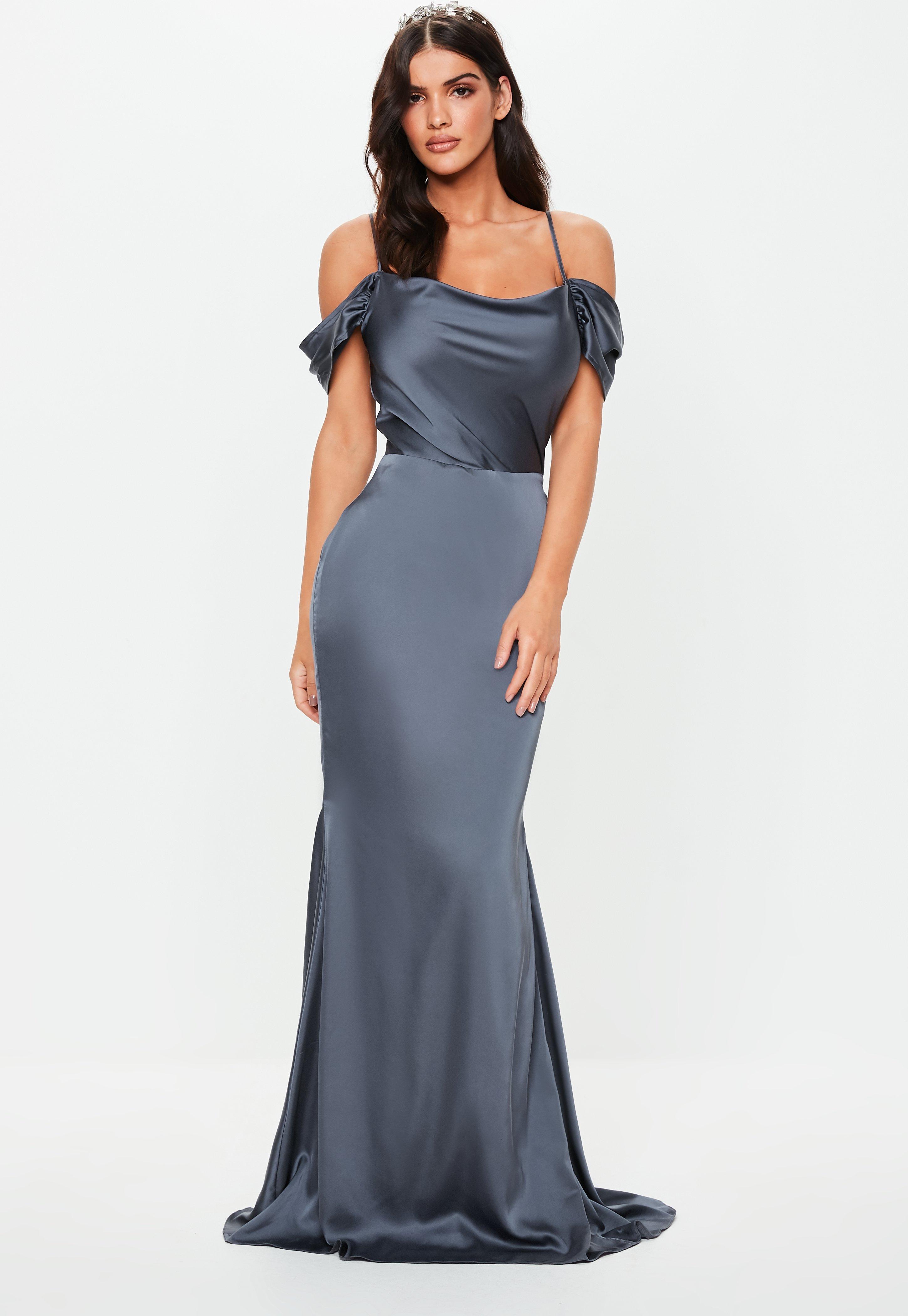 e5a38bff1c Bridesmaid Grey Satin Cowl Cold Shoulder Maxi Dress | Missguided