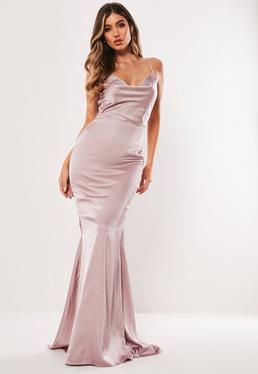 Bridesmaid Mauve Satin Cowl Maxi Dress 8a71278f1