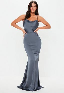 26a68036d9 Bridesmaid Grey Satin Cowl Maxi Dress