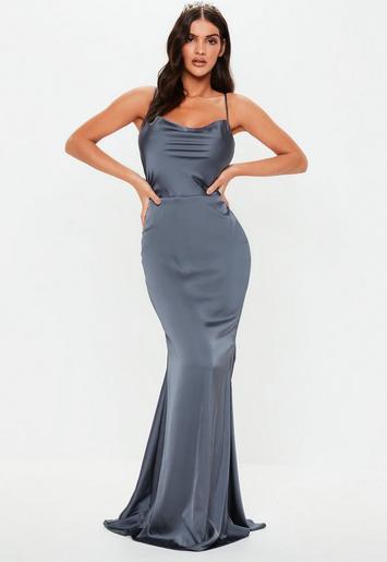 2be6566439 Gray Satin Cowl Maxi Dress