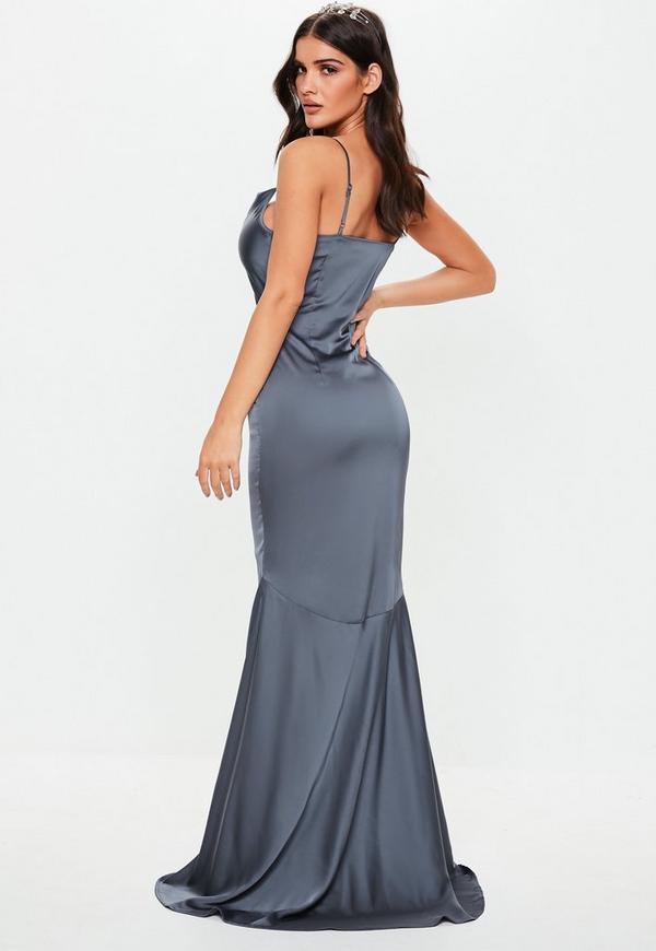 Bridesmaid Grey Satin Cowl Maxi Dress Missguided Australia