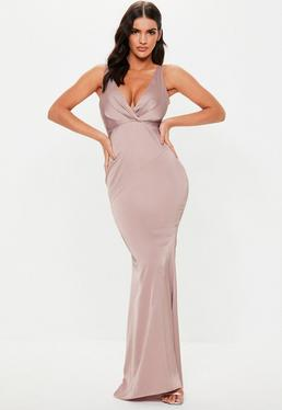 786961d207b Bridesmaid Mauve Satin V Plunge Maxi Dress