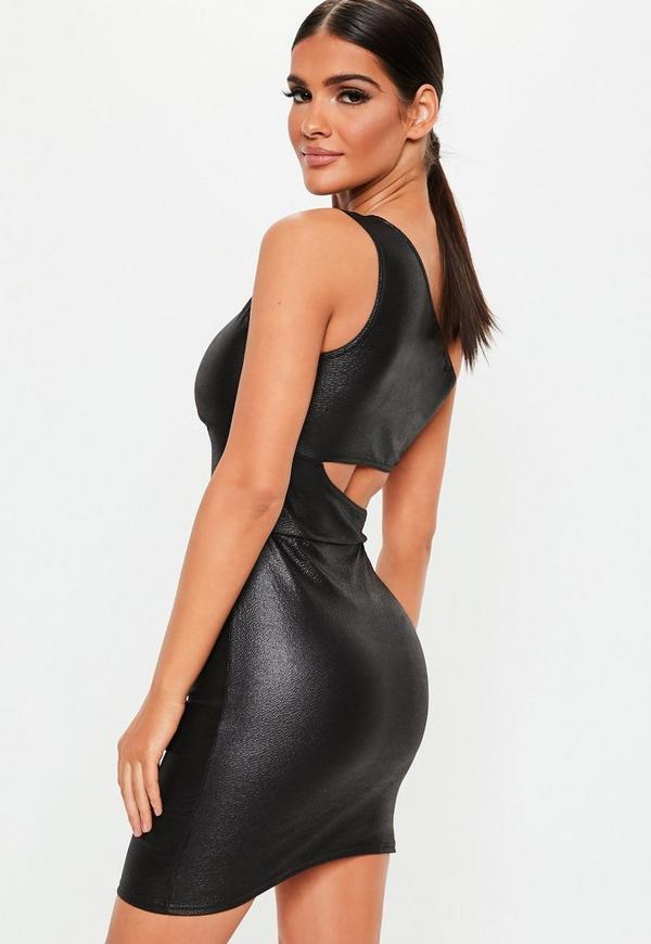 Faux Leather Mini Dress