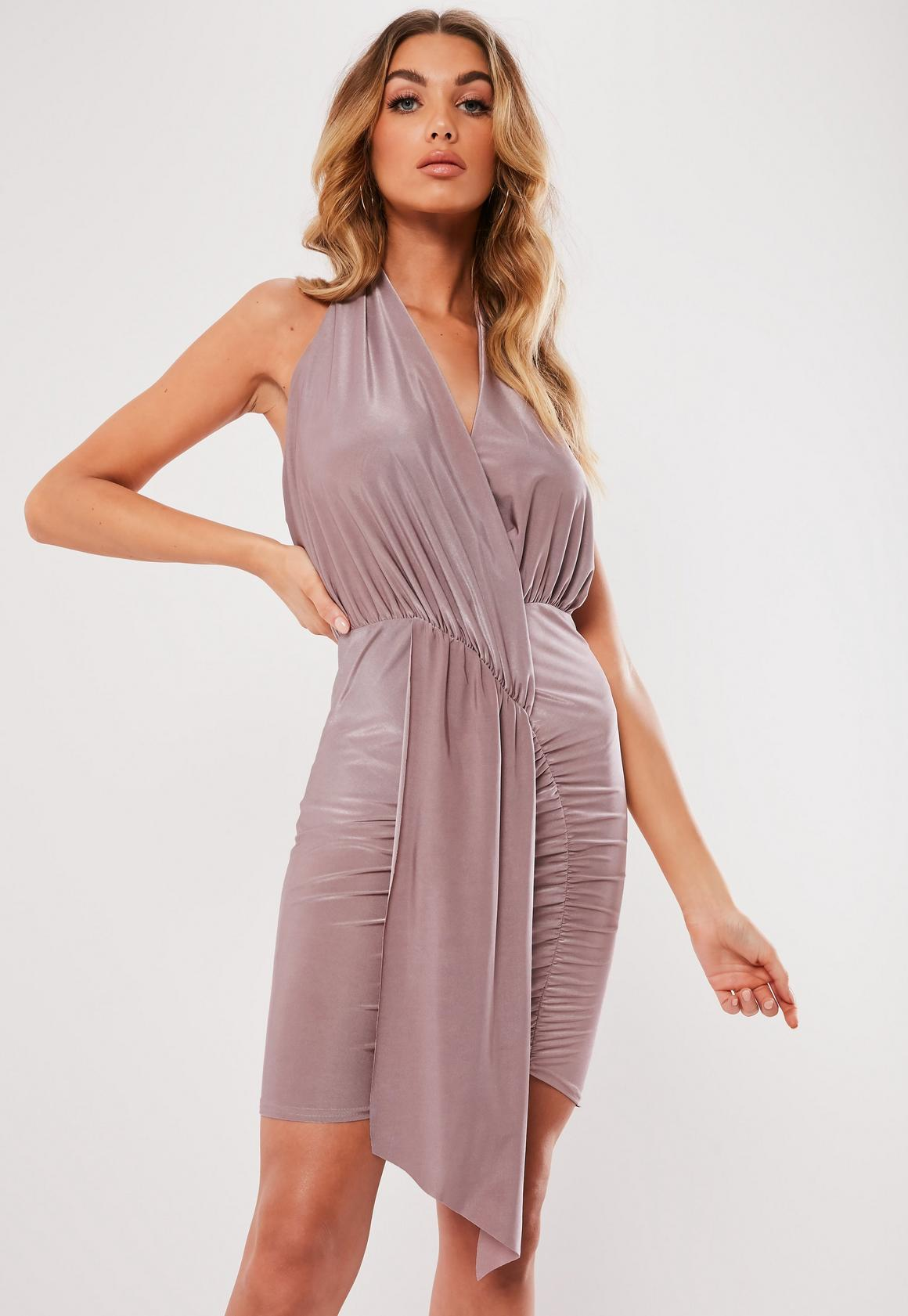 Missguided - robe dos-nu courte tissu drappé lilas - 1