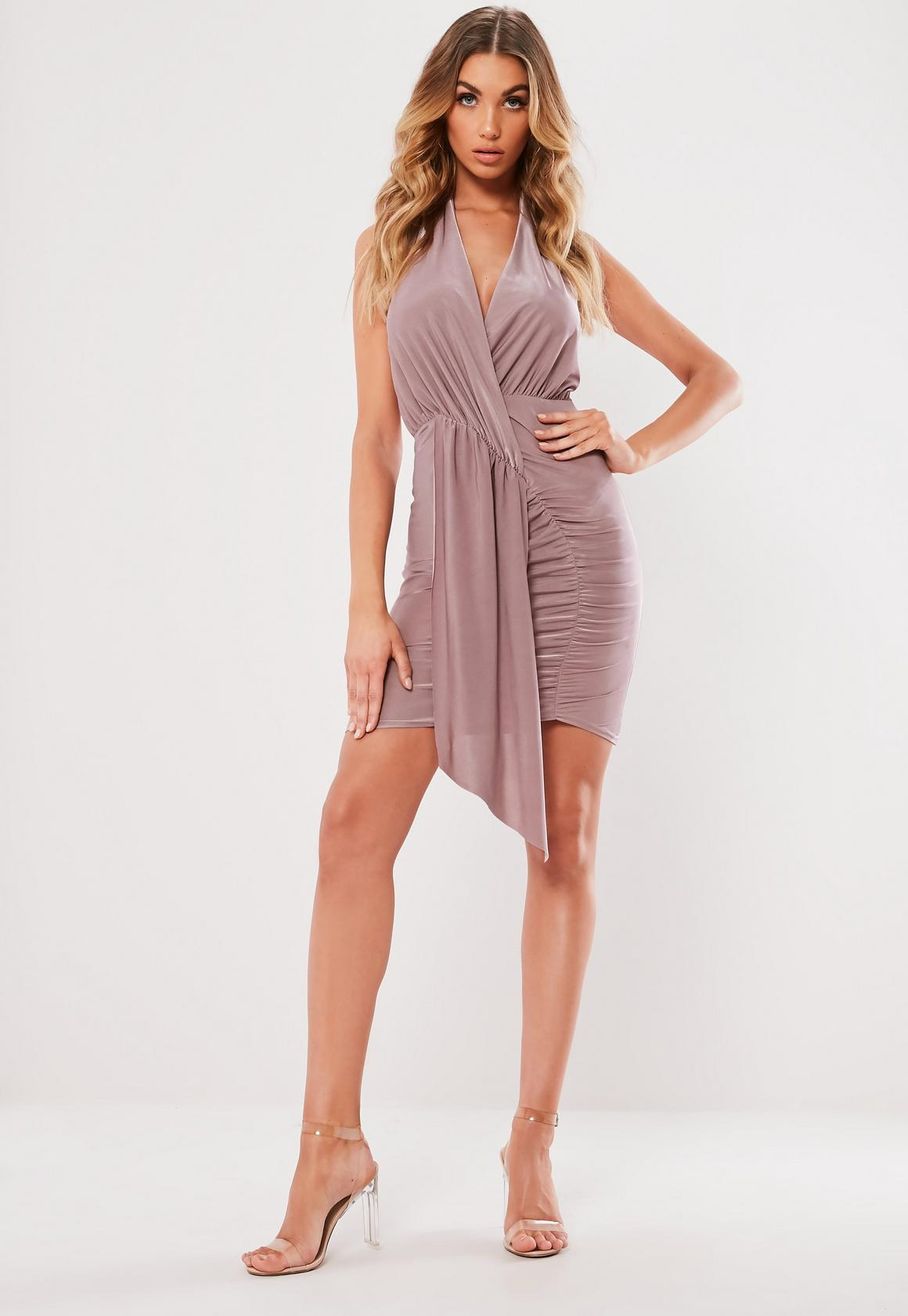 Missguided - robe dos-nu courte tissu drappé lilas - 2
