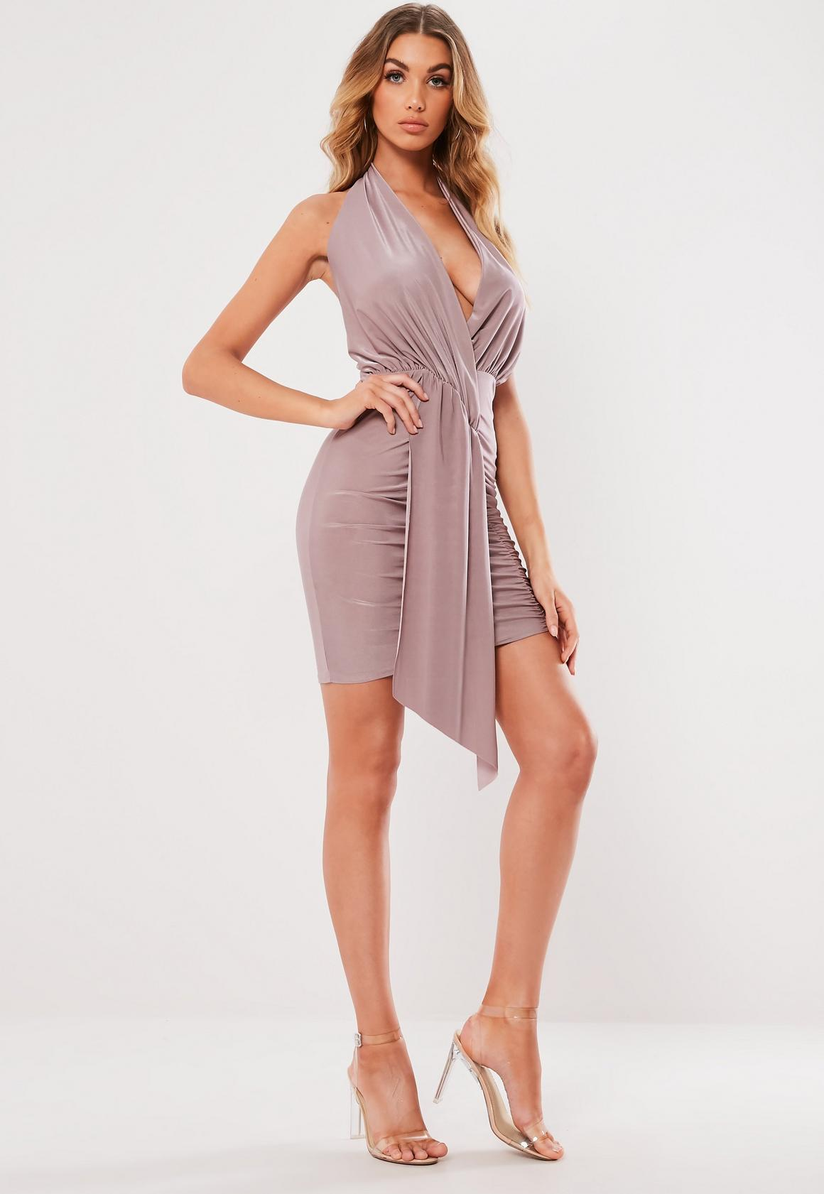 Missguided - robe dos-nu courte tissu drappé lilas - 3