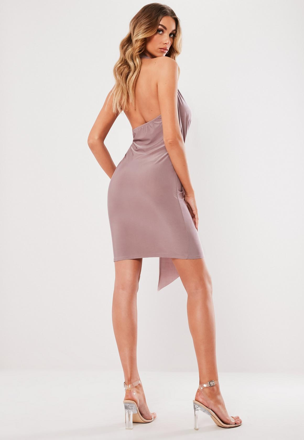 Missguided - robe dos-nu courte tissu drappé lilas - 4