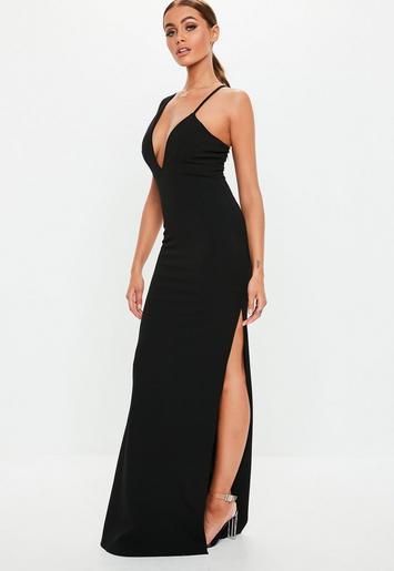 Black One Shoulder Strap Detail Maxi Dress Missguided