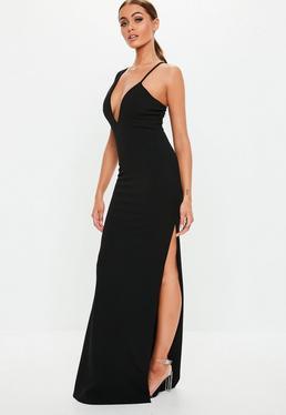 ... Vestido largo con tirantes asimétricos en negro 39cba30783da