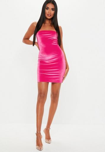 Neon Pink Velvet Bandeau Mini Dress | Missguided