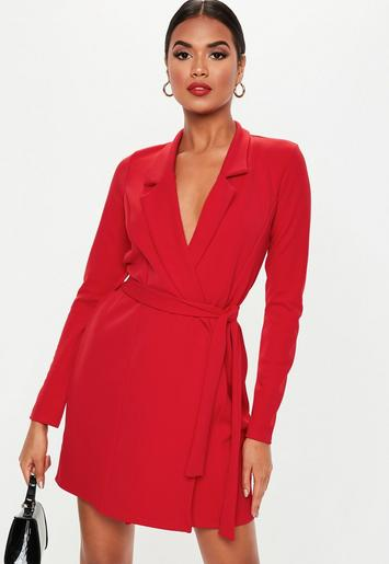 Red Long Sleeve Belted Blazer Dress