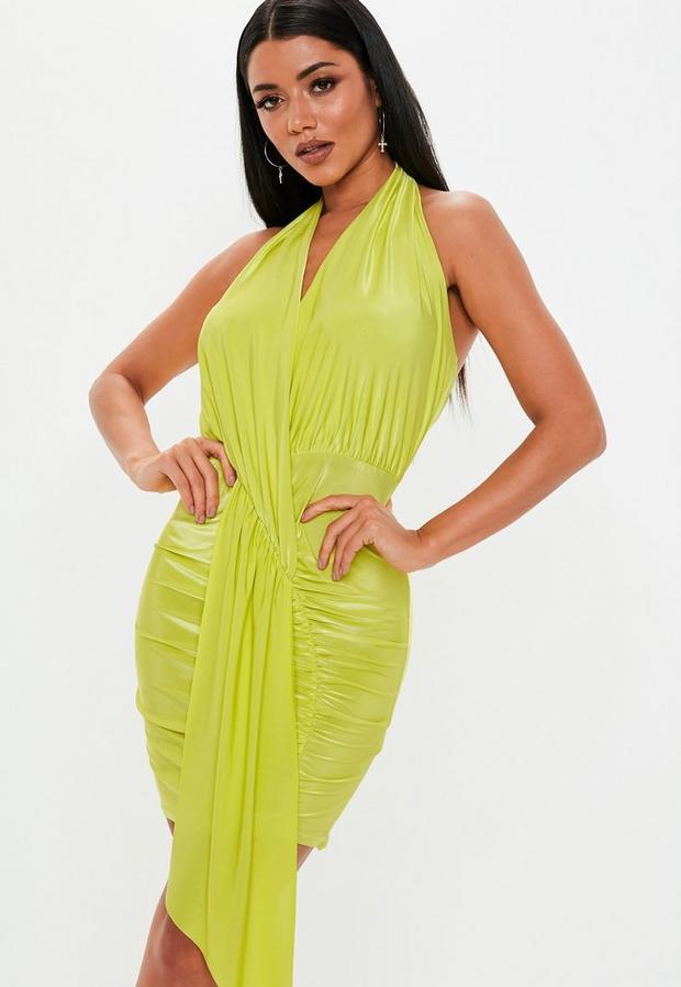Missguided - Green Slinky Cowl Drape Bodycon Mini Dress - 1