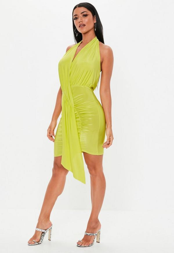Lime Green Slinky Cowl Drape Bodycon Mini Dress Missguided