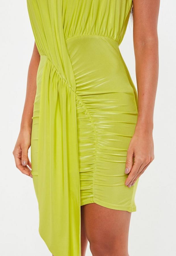 Missguided - Green Slinky Cowl Drape Bodycon Mini Dress - 3