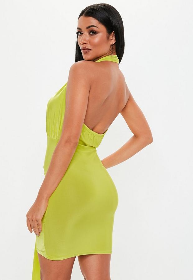 Missguided - Green Slinky Cowl Drape Bodycon Mini Dress - 4