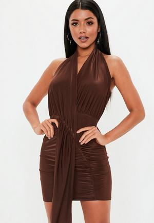 992db5c2ce £22.00. chocolate slinky cowl drape mini dress