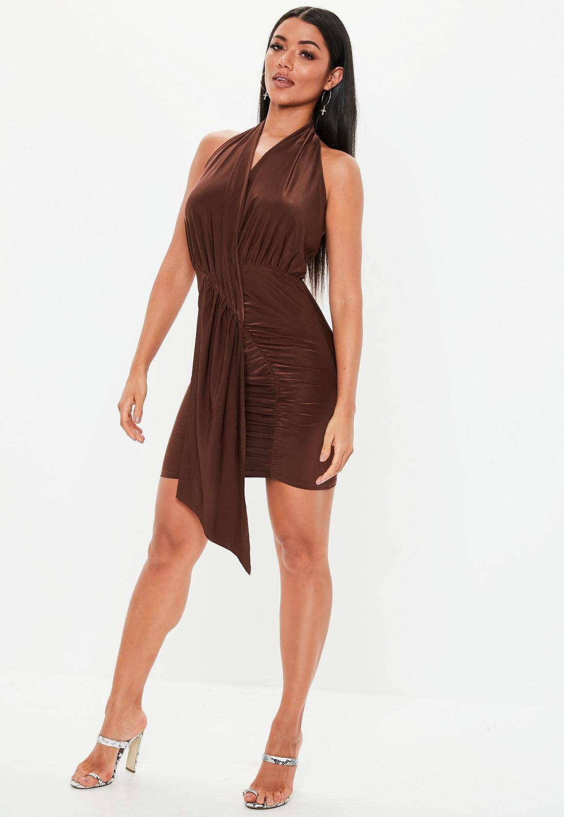 Missguided - robe dos-nu courte tissu drappé  - 2